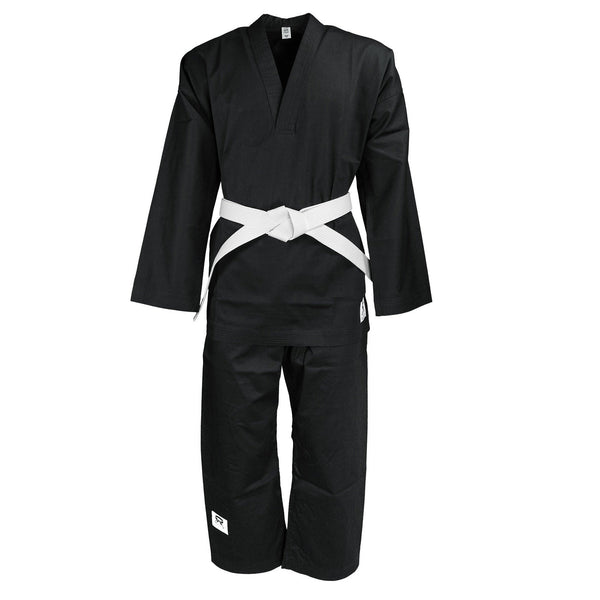 Student Black karate Suit Twill Cotton V-Neck 230/240G - HugeCARE Srl