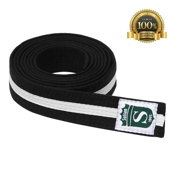 High-Quality Martial Arts Pro Black Color Belt with White Stripe - HugeCARE Srl