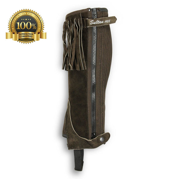 Fringed Suede Half Chaps Made Of Brown Leather - HugeCARE Srl