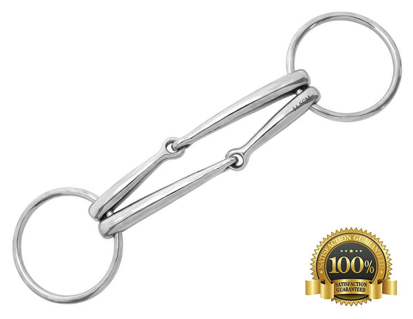 Professional Stainless Steel Loose Ring Double Snaffle - HugeCARE Srl