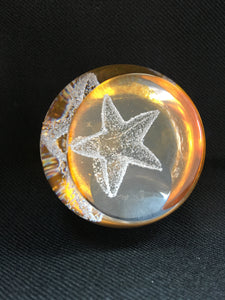 Caithness crystal - Small Yellow star paperweight