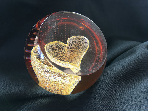 Caithness crystal - Small yellow heart paperweight
