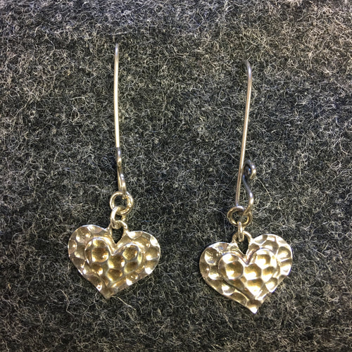 Pure Origins - double hammered heart drop earrings