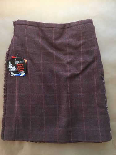 Handsewn kilts - 7-yard burgandy Country check tweed