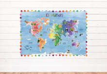 Load image into Gallery viewer, SPANISH World Blue Watercolor Map Background