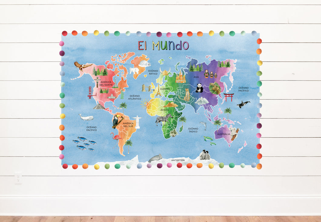SPANISH World Blue Watercolor Map Background