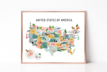 Load image into Gallery viewer, United States Map Background - Dusty Pastel Colors