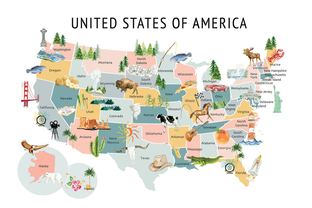 United States Map Background - Dusty Pastel Colors