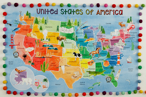 Classroom United States Rainbow Water Color Map Background