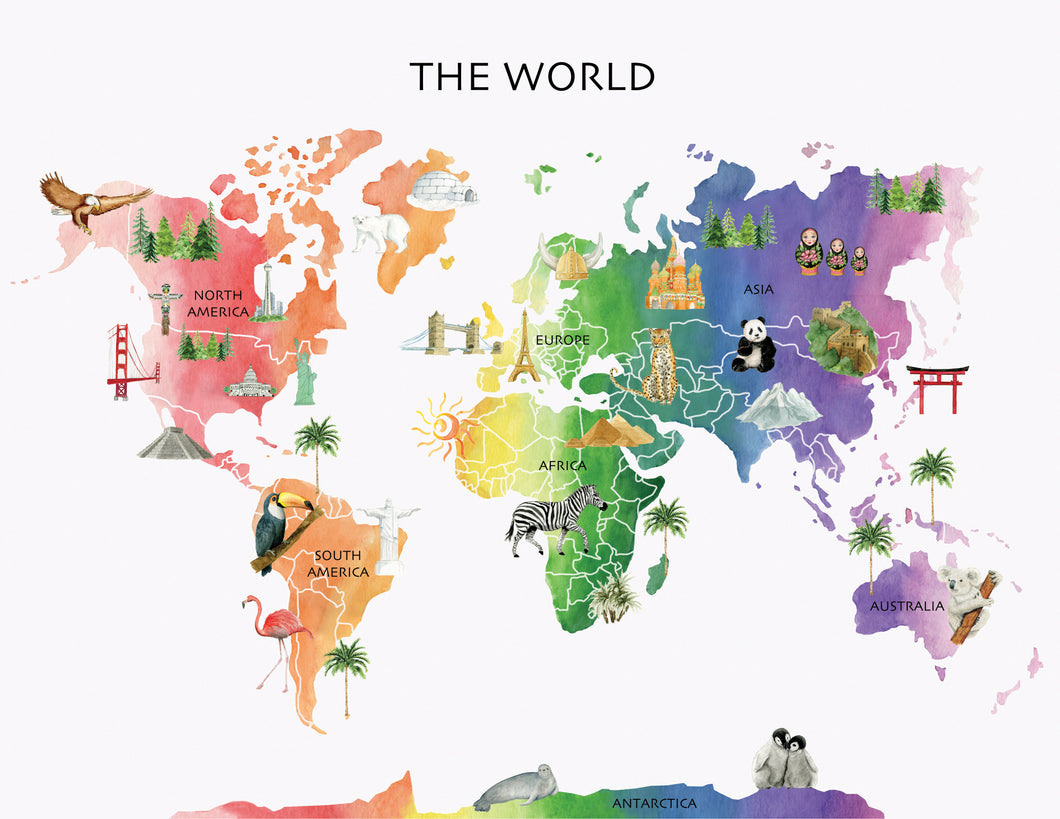 Classroom World White Watercolor Map Background