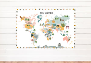 Classroom World Pastel Map Background