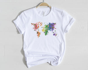 World Watercolor Map Shirt