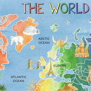 Classroom World Blue Watercolor Map Background