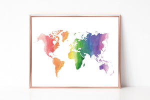 Watercolor World Map Background