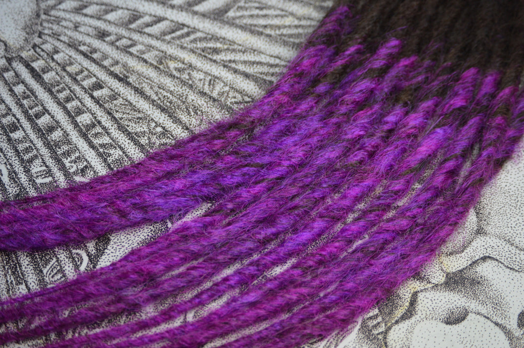 Dark Brown with Vibrant Violet, long