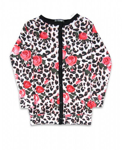Children's Leopard and roses Cardigan White SALE WAS £19 NOW £10