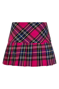 Hell Bunny Chelsy Tartan Mini Skirt Pink and Blue