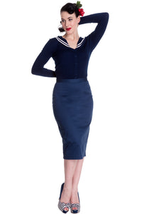 Frankie Classic Pencil Skirt Blue