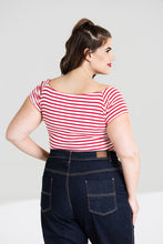 Load image into Gallery viewer, Dolly Stripe Jersey Top Red and White