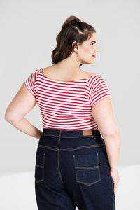 Dolly Stripe Jersey Top Red and White