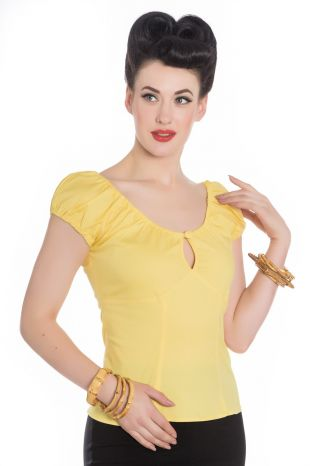 Classic cotton Gypsy Top with keyhole Yellow