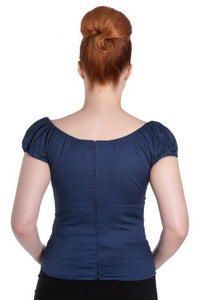 Classic cotton Gypsy Top with keyhole Navy