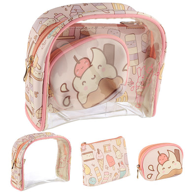 Kawaii Ice Cream 3 Piece Toiletry Vanity Bag Set