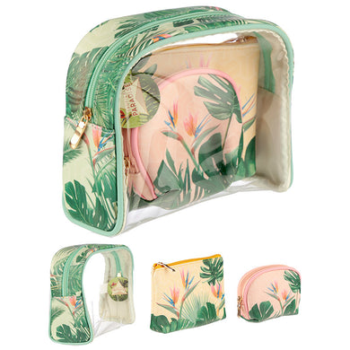 Tropical Paradise 3 Piece Toiletry Vanity Bag Set