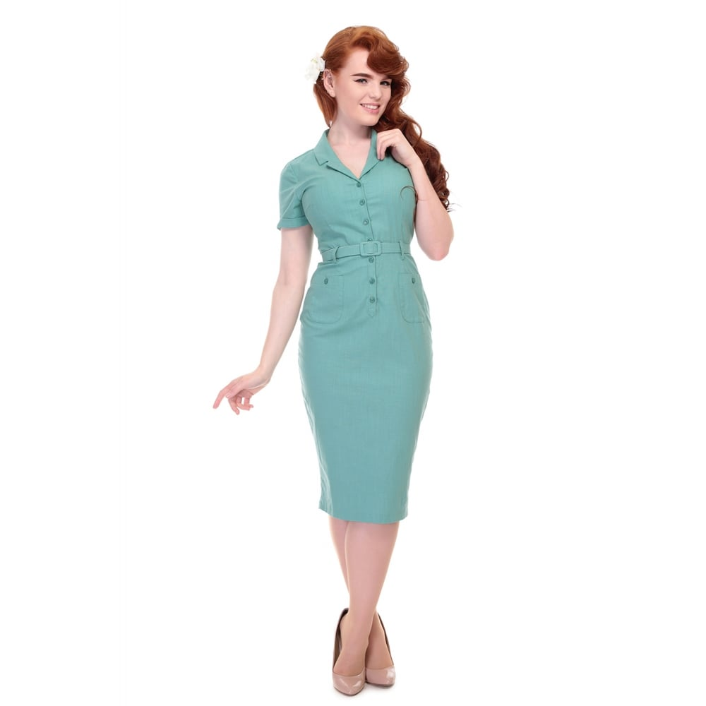 Caterina Plain Green 1940s Shirt waister Dress