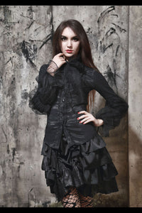 Victoriana ruffle Blouse with detachable chiffon neck tie