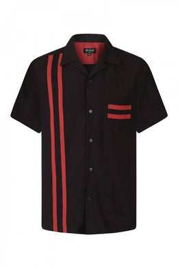 Lucky Stripe Red and Black Bowling Shirt