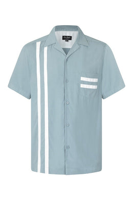 Lucky Stripe chalk blue and white Bowling Shirt