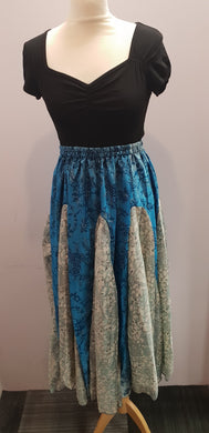Elasticated Gypsy Skirt made with repurposed silk sari fabric. (Blue stylised floral) FAIRTRADE