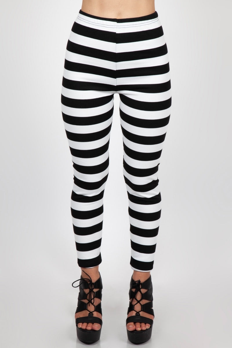 Jailbird Black and White striped Leggings