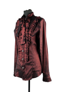 Mens Victoriana slim fit Ruffled Shirt Deep Wine Red