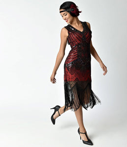 Unique Vintage Veronique 1920's Beaded red and black Dress