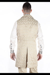 Cream Brocade long tailed Steampunk Waistcoat SALE WAS £72 NOW £45