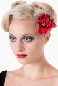 Double Orchid Blossom Hair Clip Red