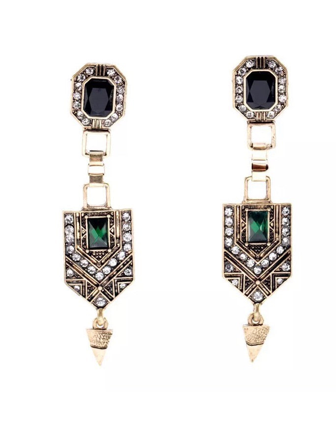 Art Deco Drop Gold and Green earrings