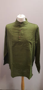 Cotton Khaddar 100% Cotton Long Sleeve Grandad collar shirt Olive Green . FAIRTRADE