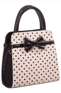 Carla Polkadot Bow Bag Nude and Black