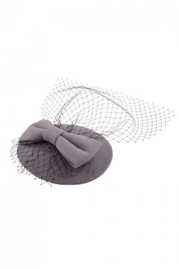 Bonny Bow Mini Hat Fascinator Grey