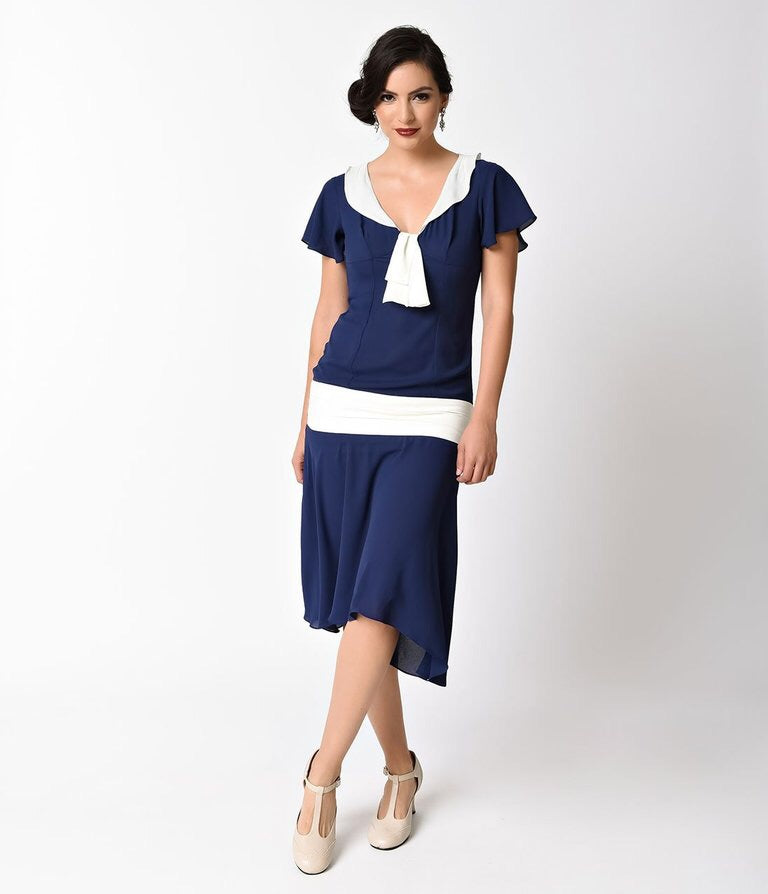 Wilshire 1920s/1930s navy drop waist dress