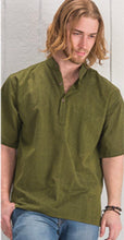 Load image into Gallery viewer, Cotton Khaddar 100% Cotton Short Sleeve Grandad collar shirt Olive Green. FAIRTRADE