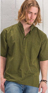 Cotton Khaddar 100% Cotton Short Sleeve Grandad collar shirt Olive Green. FAIRTRADE