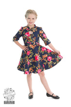 Load image into Gallery viewer, Children's Dark Navy Floral keyhole dress