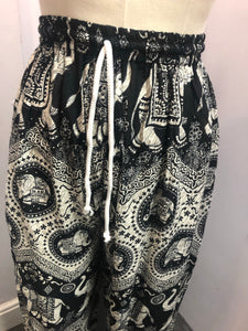 Hareem Trousers Black and White Elephant Print