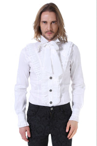 Mens Victoriana slim fit Ruffled Shirt Ivory