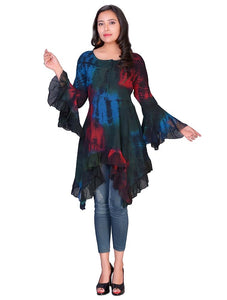 Multicoloured Tie dye tunic top with flared sleeve.