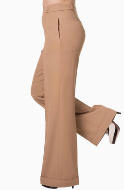 Party On High waisted Trousers Camel/Sand